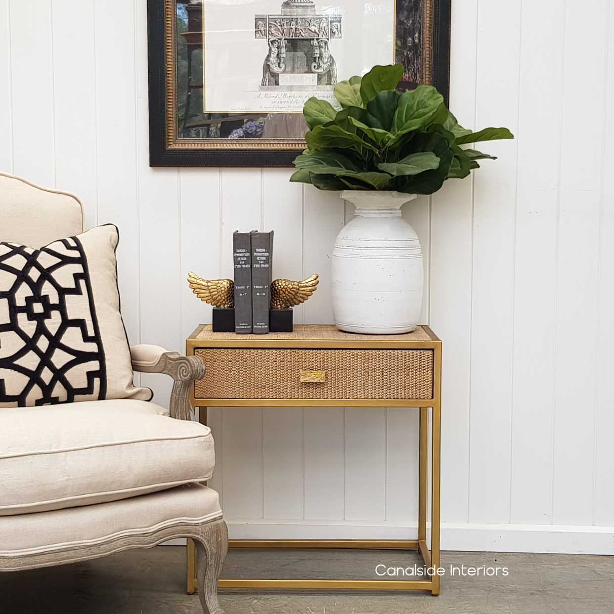 Connor Side Table Gold with Rattan  BEDROOM, TABLES Side Tables, LIVING Room, LIVING Coffee & Side Tables, BEDROOM Bedsides, PLANTATION STYLE