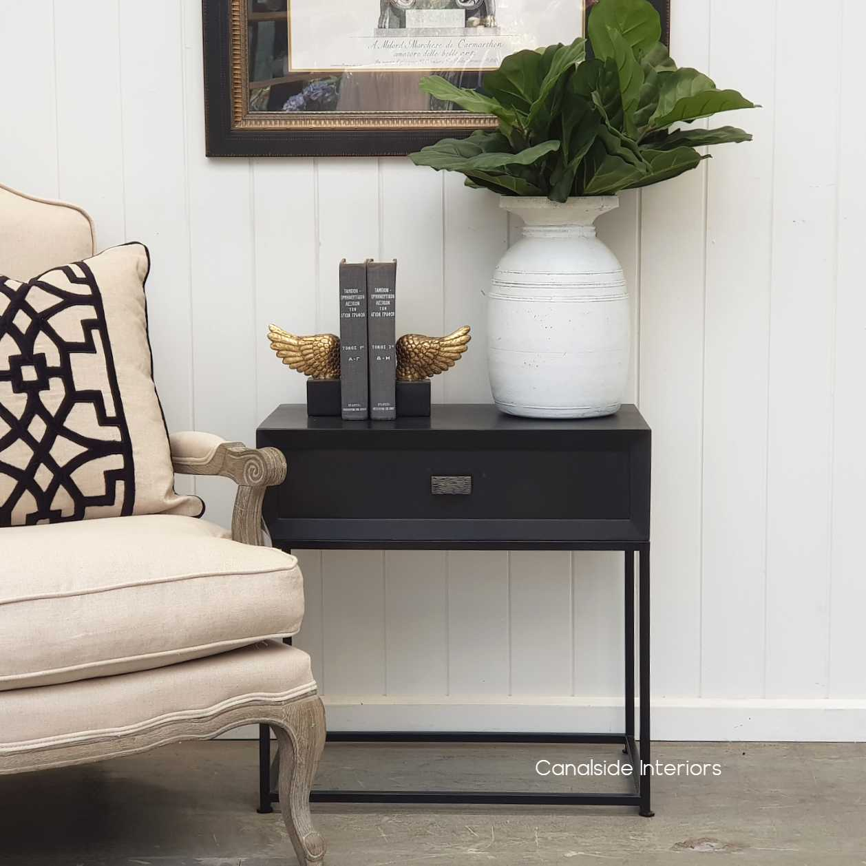 Connor Side Table CharcoalBlack  BEDROOM, HAMPTONS Style, PLANTATION Style, TABLES Side Tables, LIVING Room, LIVING Coffee & Side Tables, BEDROOM Bedsides
