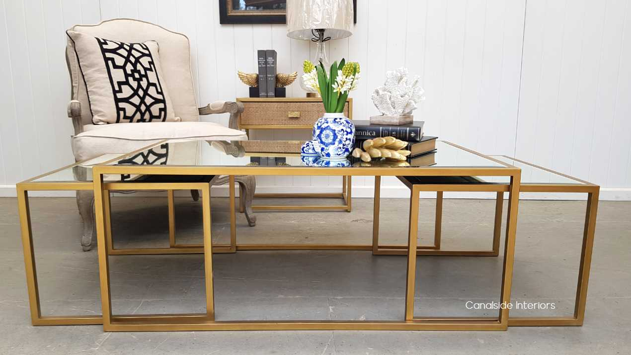 Brienne Nesting Coffee Table with Aged Mirror  TABLES, TABLES Coffee Tables, LIVING Room, LIVING Coffee & Side Tables