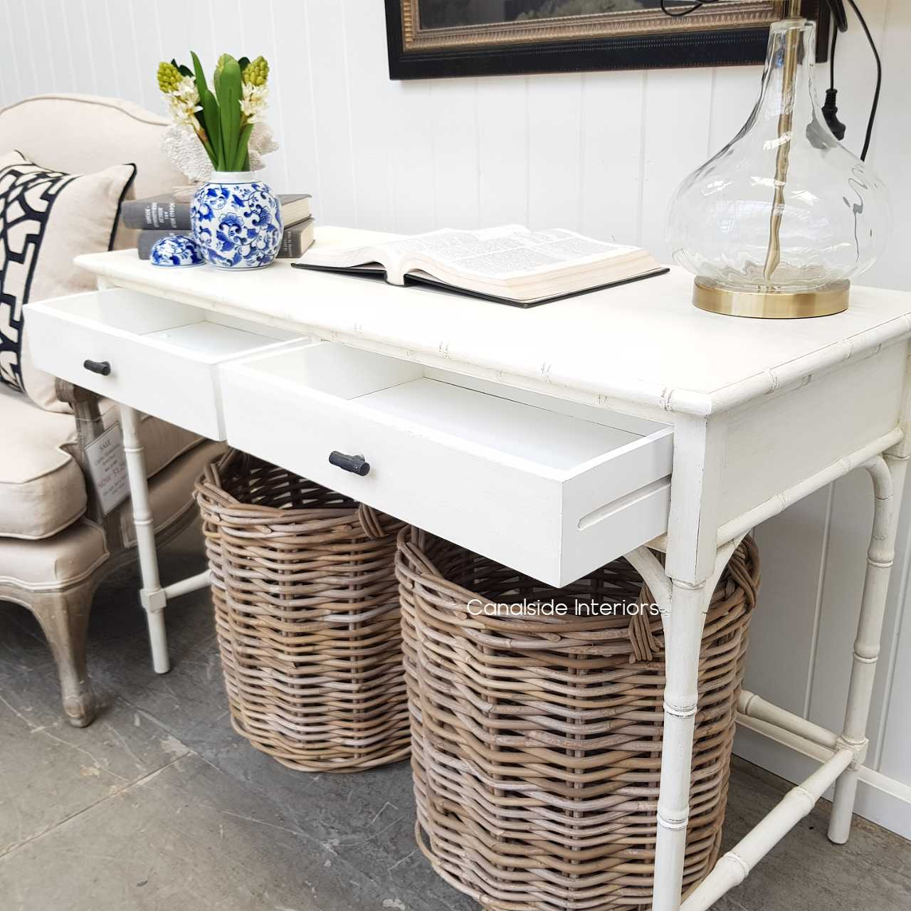 Mandalay Console Distressed White  HAMPTONS Style, PLANTATION Style, STORAGE Consoles & Desks, PLANTATION STYLE