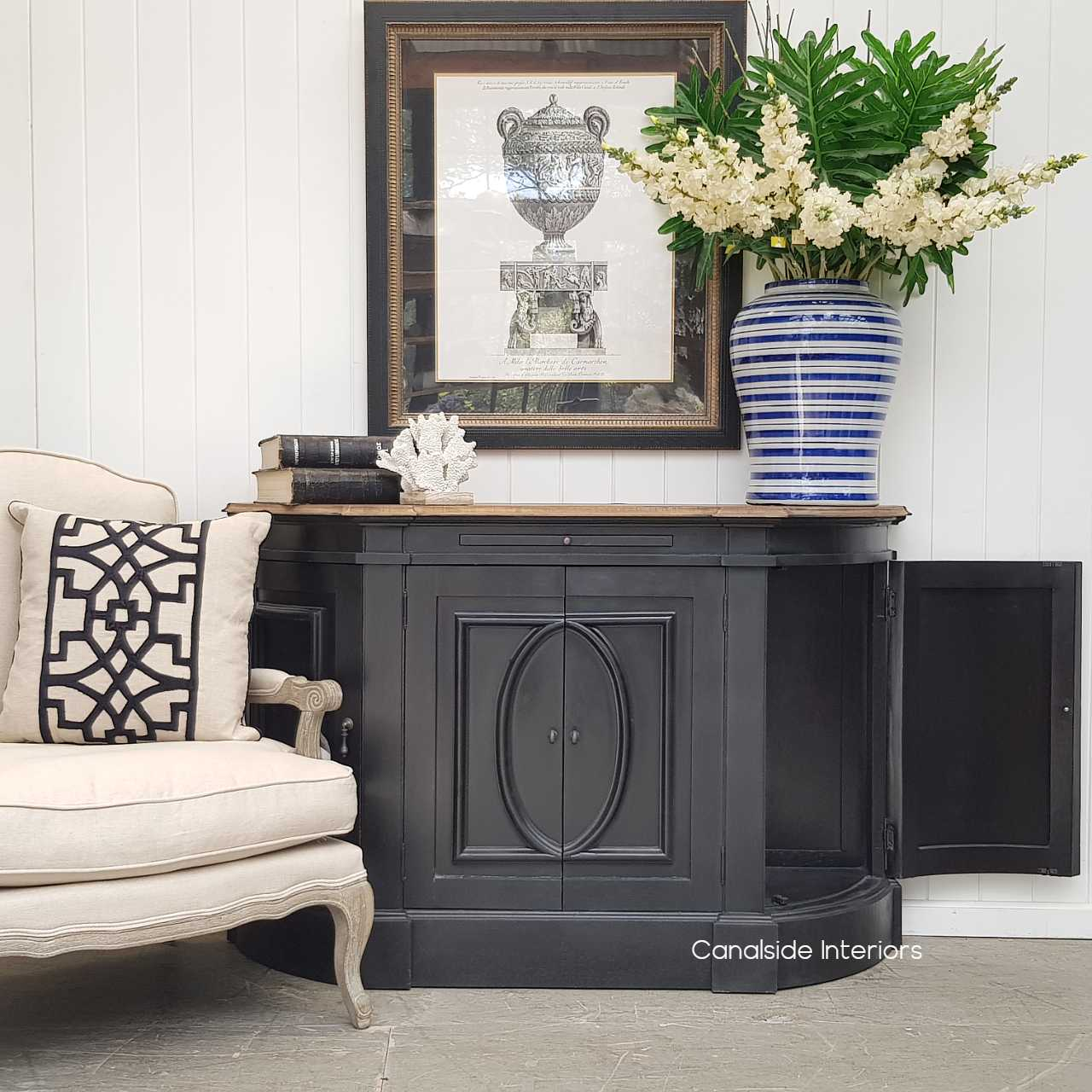 Bastian Small Sideboard Distressed Charcoal Weathered Oak  FRENCH  FURNITURE, HAMPTONS Style, PLANTATION Style, LIVING Room, LIVING TV Media & Storage, TABLES Sideboards & Buffets, STORAGE, STORAGE Sideboards & Buffets