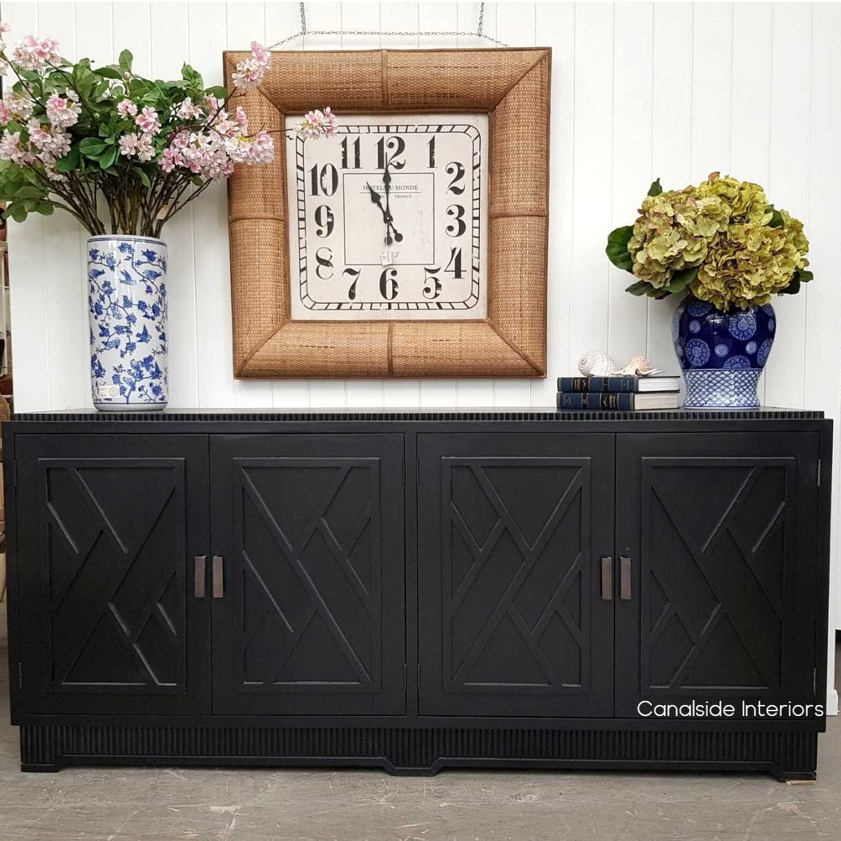 Ellery 4 Door Sideboard Distressed Black  HAMPTONS Style, PLANTATION Style, LIVING Room, LIVING TV Media & Storage, TABLES Sideboards & Buffets, STORAGE, STORAGE Sideboards & Buffets, PLANTATION STYLE