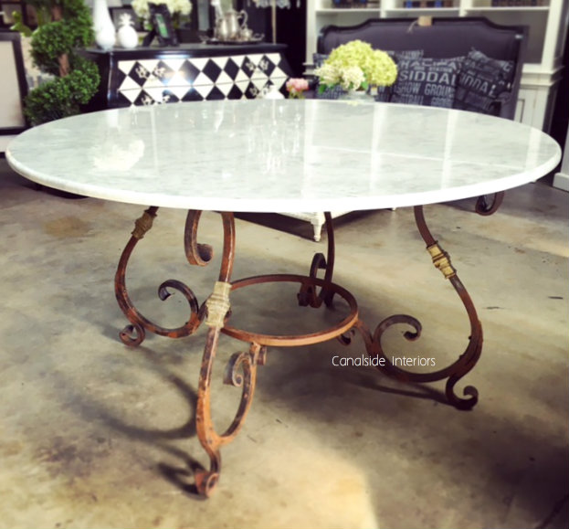 Santiago Round Dining Table with Carrara Marble Top 150cm  FRENCH  FURNITURE, INDUSTRIAL RUSTIC Style, TABLES, TABLES Dining Tables