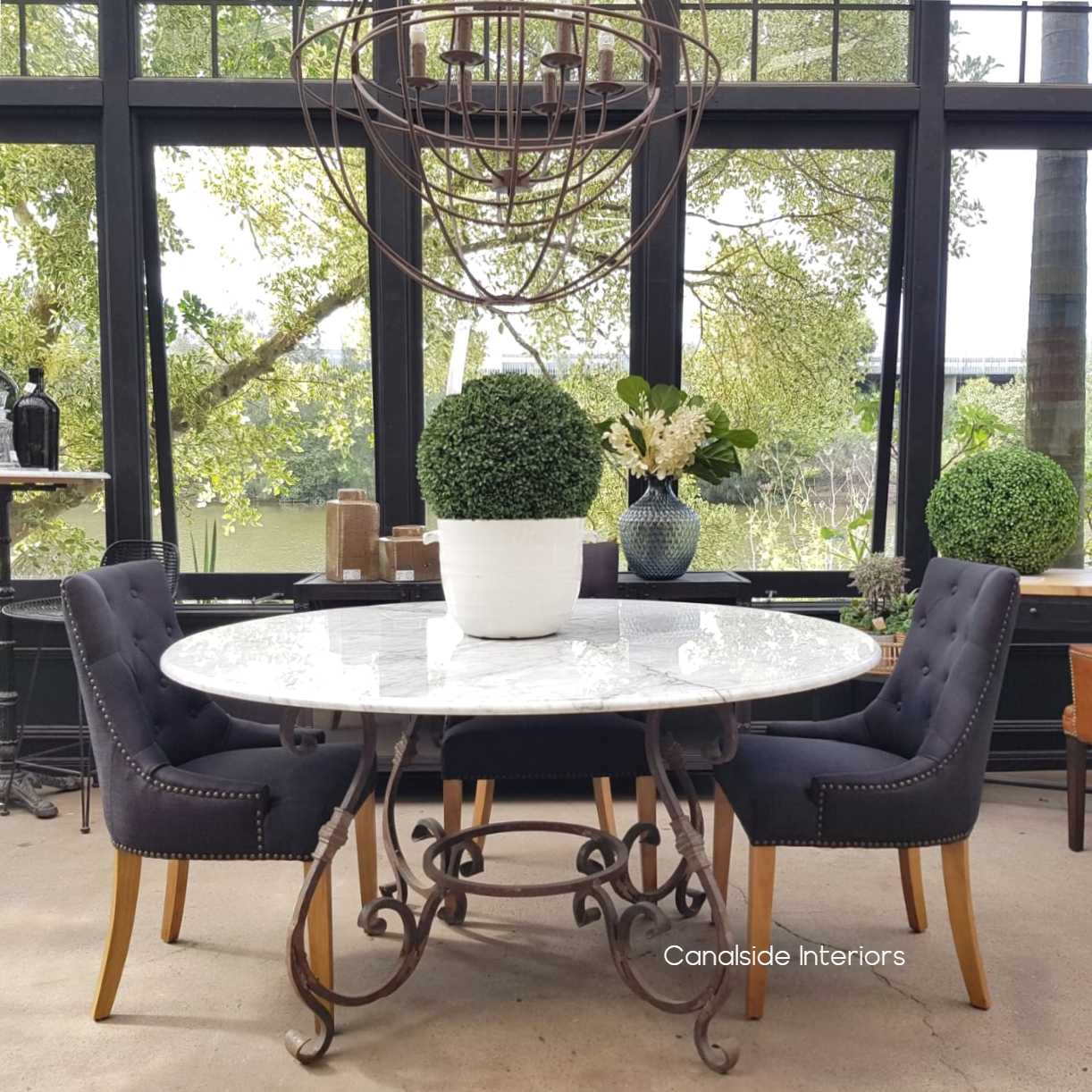 Santiago Round Dining Table With Carrara Marble Top 150cm Canalside
