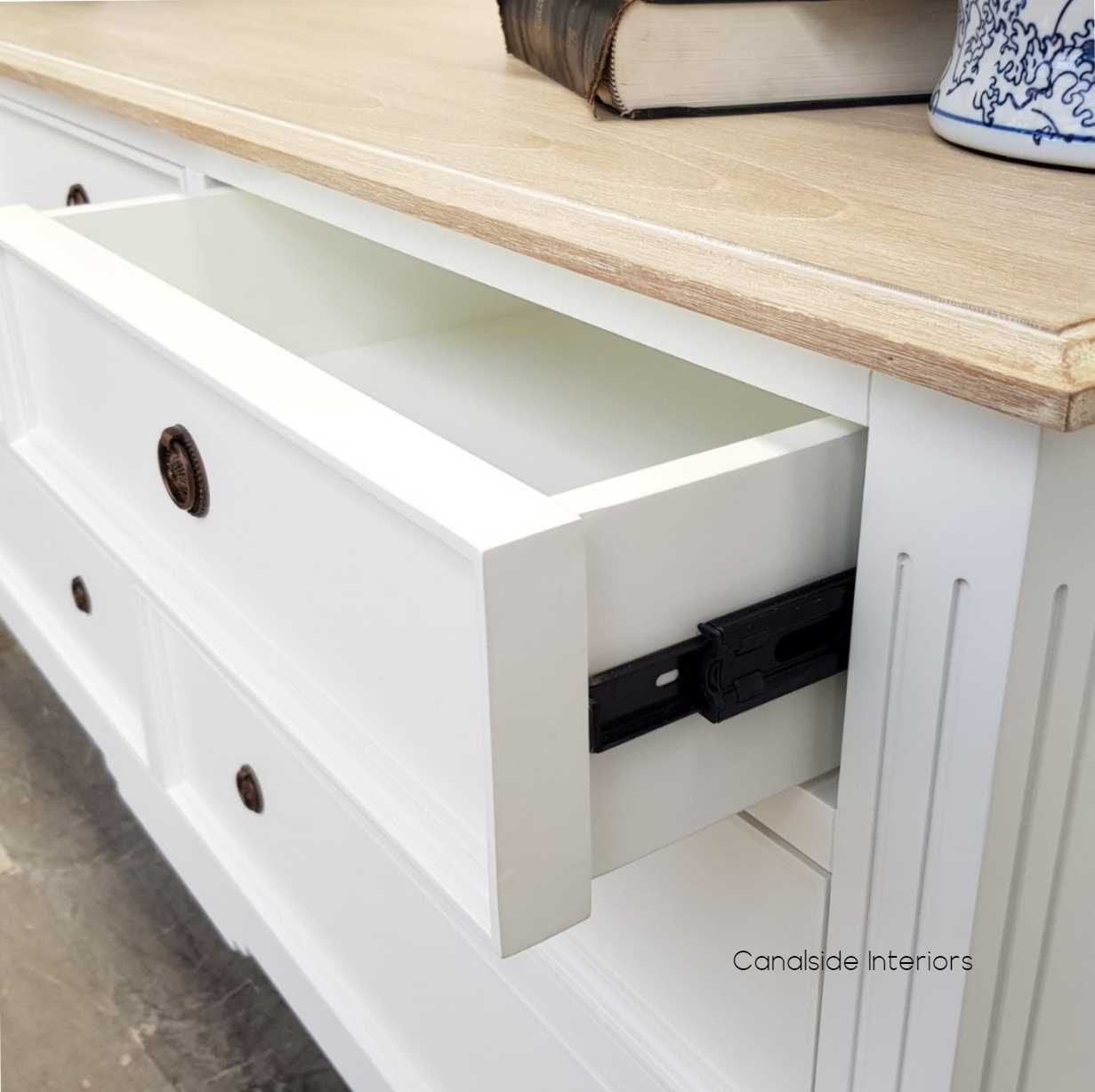 Peninsula 7 Drawer Chest White with Limewash Top  BEDROOM, BEDROOM Chests & Commodes
