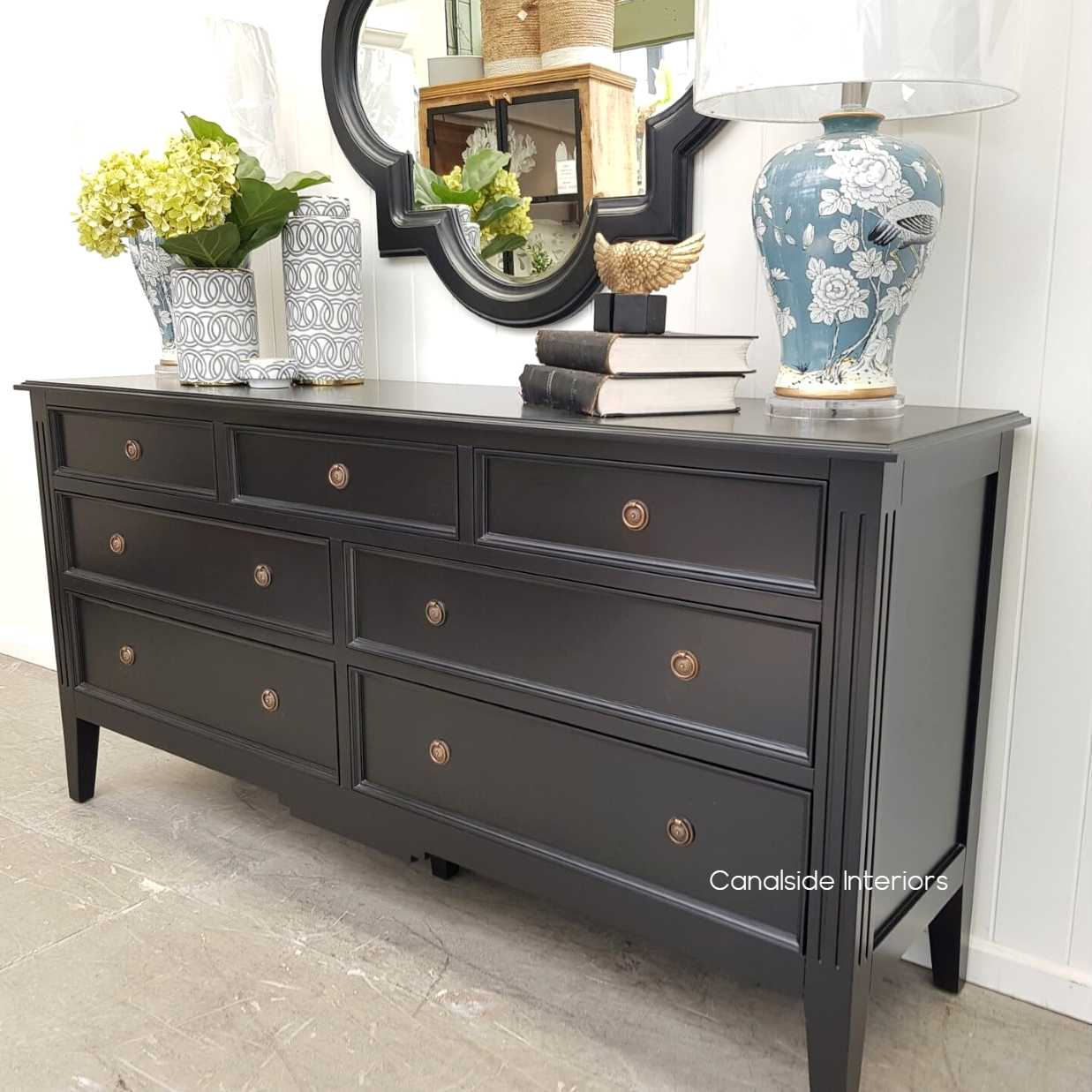 Peninsula 7 Drawer Chest Black  BEDROOM, BEDROOM Chests & Commodes