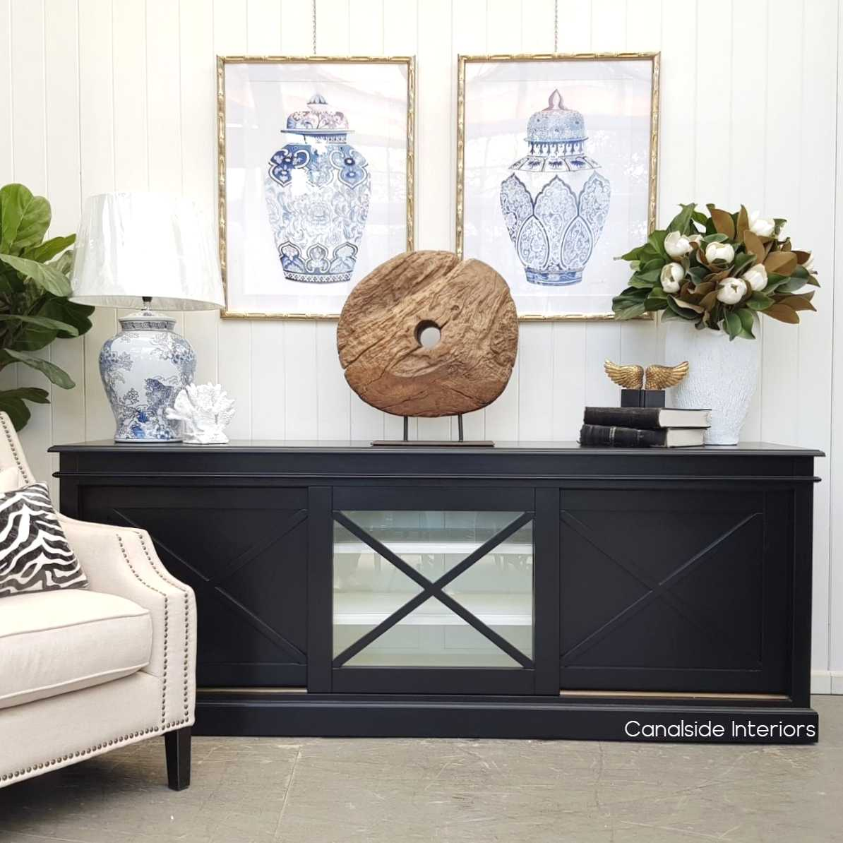 Belmont Hamptons Sliding Door TV Sideboard Black with White Interior  HAMPTONS Style, PLANTATION Style, LIVING Room, LIVING TV Media & Storage, TABLES Sideboards & Buffets, STORAGE, STORAGE Sideboards & Buffets