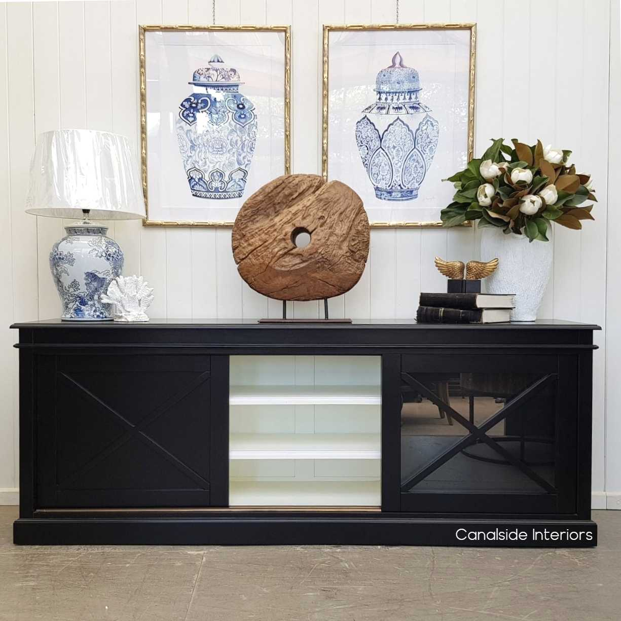 Belmont Hamptons Sliding Door TV Sideboard Black with White Interior  HAMPTONS Style, PLANTATION Style, LIVING Room, LIVING TV Media & Storage, TABLES Sideboards & Buffets, STORAGE, STORAGE Sideboards & Buffets