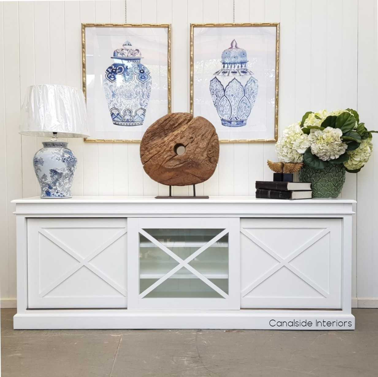 Belmont Hamptons Sliding Door TV Sideboard White  HAMPTONS Style, PLANTATION Style, LIVING Room, LIVING TV Media & Storage, TABLES Sideboards & Buffets, STORAGE, STORAGE Sideboards & Buffets