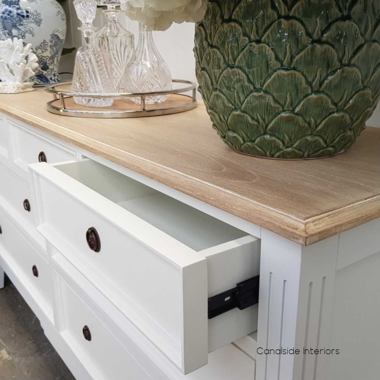 Peninsula Sideboard 7 Drawer White with Limewash Top  LIVING TV Media & Storage, TABLES Sideboards & Buffets, STORAGE, STORAGE Sideboards & Buffets