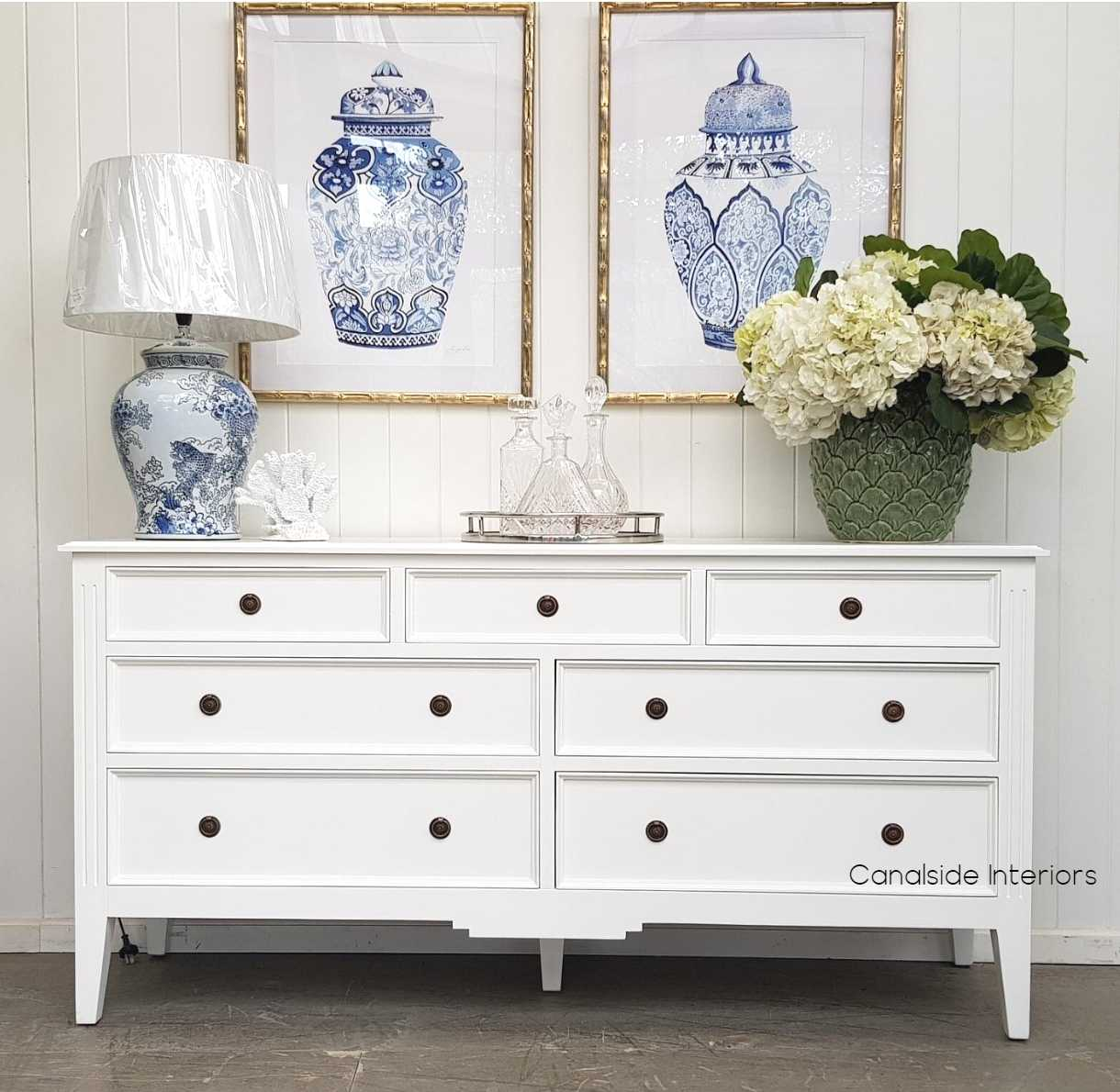 Peninsula Sideboard 7 Drawer White  LIVING TV Media & Storage, TABLES Sideboards & Buffets, STORAGE, STORAGE Sideboards & Buffets