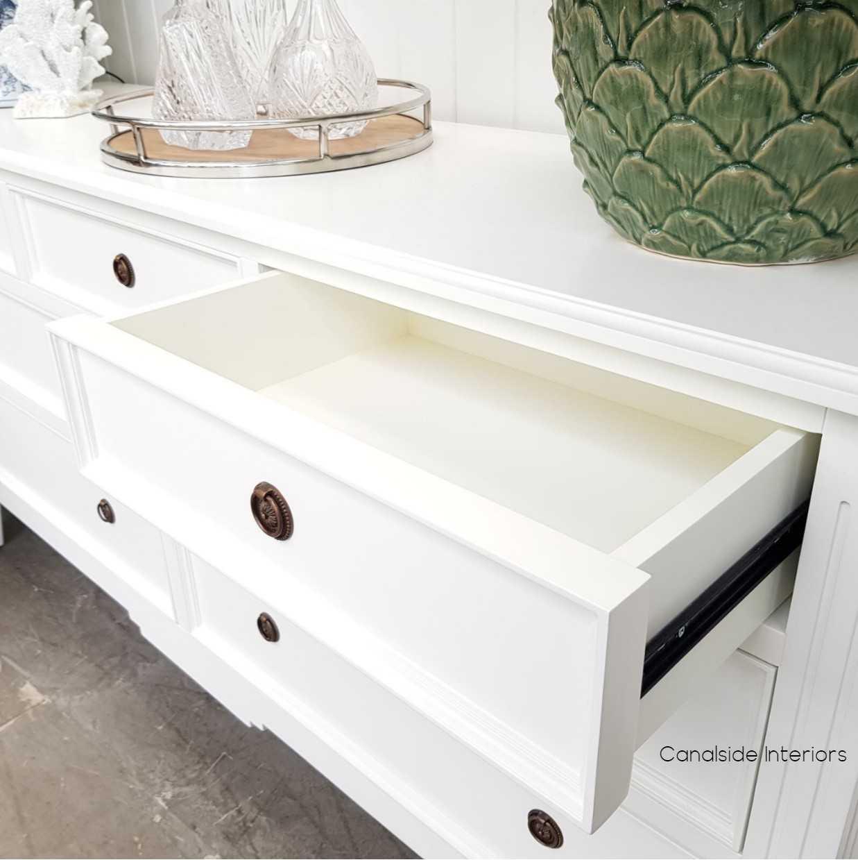 Peninsula Sideboard 7 Drawer White  LIVING TV Media & Storage, TABLES Sideboards & Buffets, STORAGE, STORAGE Sideboards & Buffets