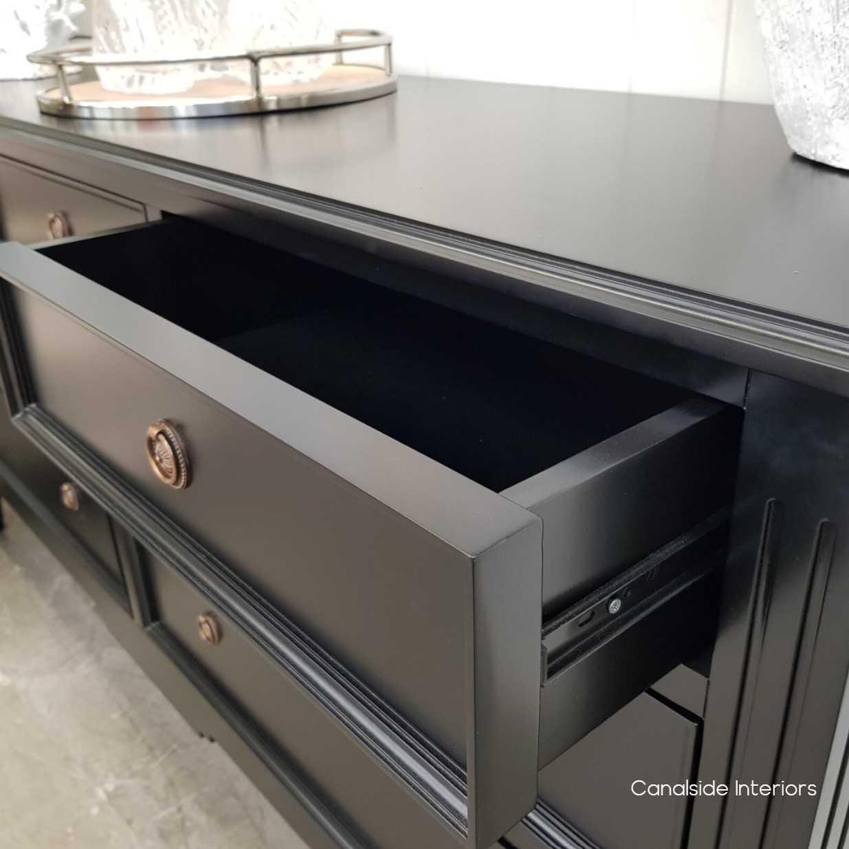 Peninsula Sideboard 7 Drawer Black  LIVING TV Media & Storage, TABLES Sideboards & Buffets, STORAGE, STORAGE Sideboards & Buffets