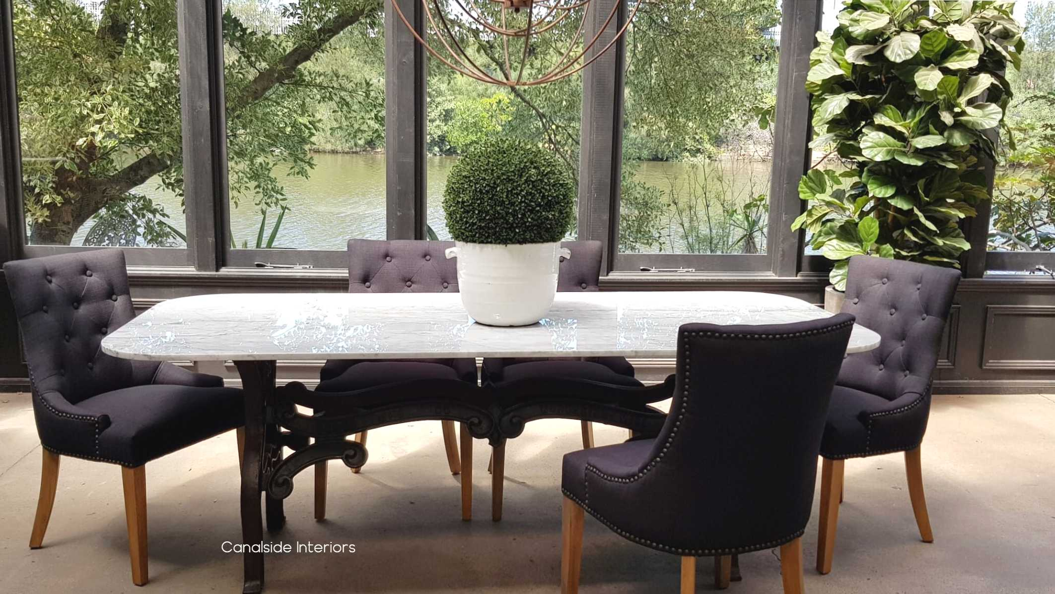 Hobbs Dining table with Carrara Marble Top - Canalside Interiors