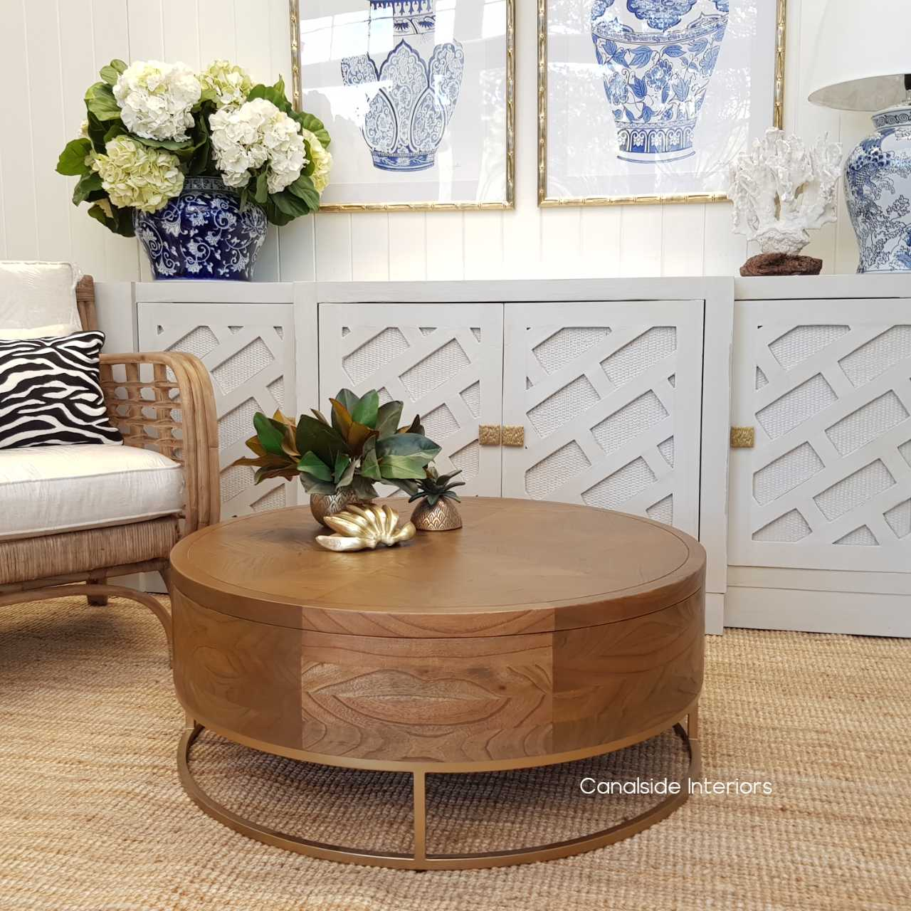 Picture of: Huxley Mosaic Gold Inlay Round Coffee Table With Storage In Stock Canalside Interiors