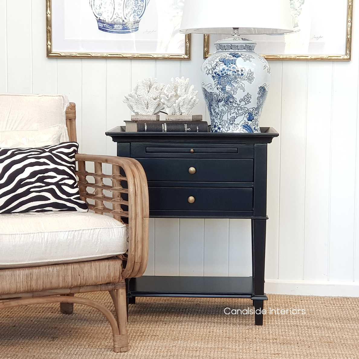 Butler Side Table Bedside Black TABLES, TABLES Side Tables, LIVING Coffee & Side Tables, BEDROOM Bedsides nightstand hamptons