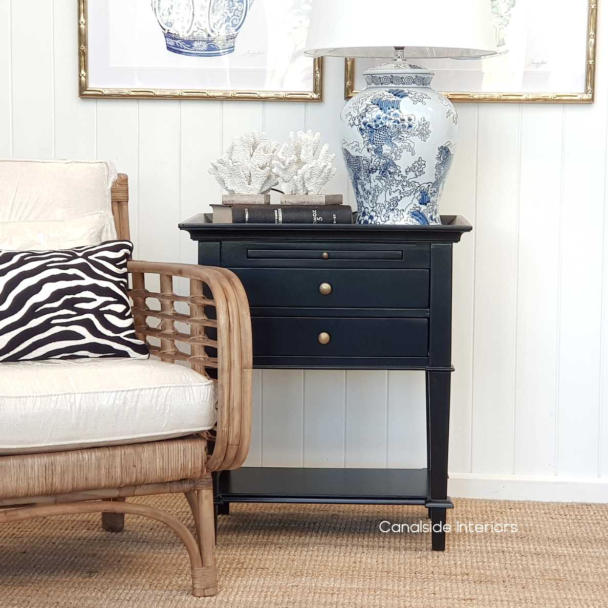 Butler Side Table Bedside White Canalside Interiors