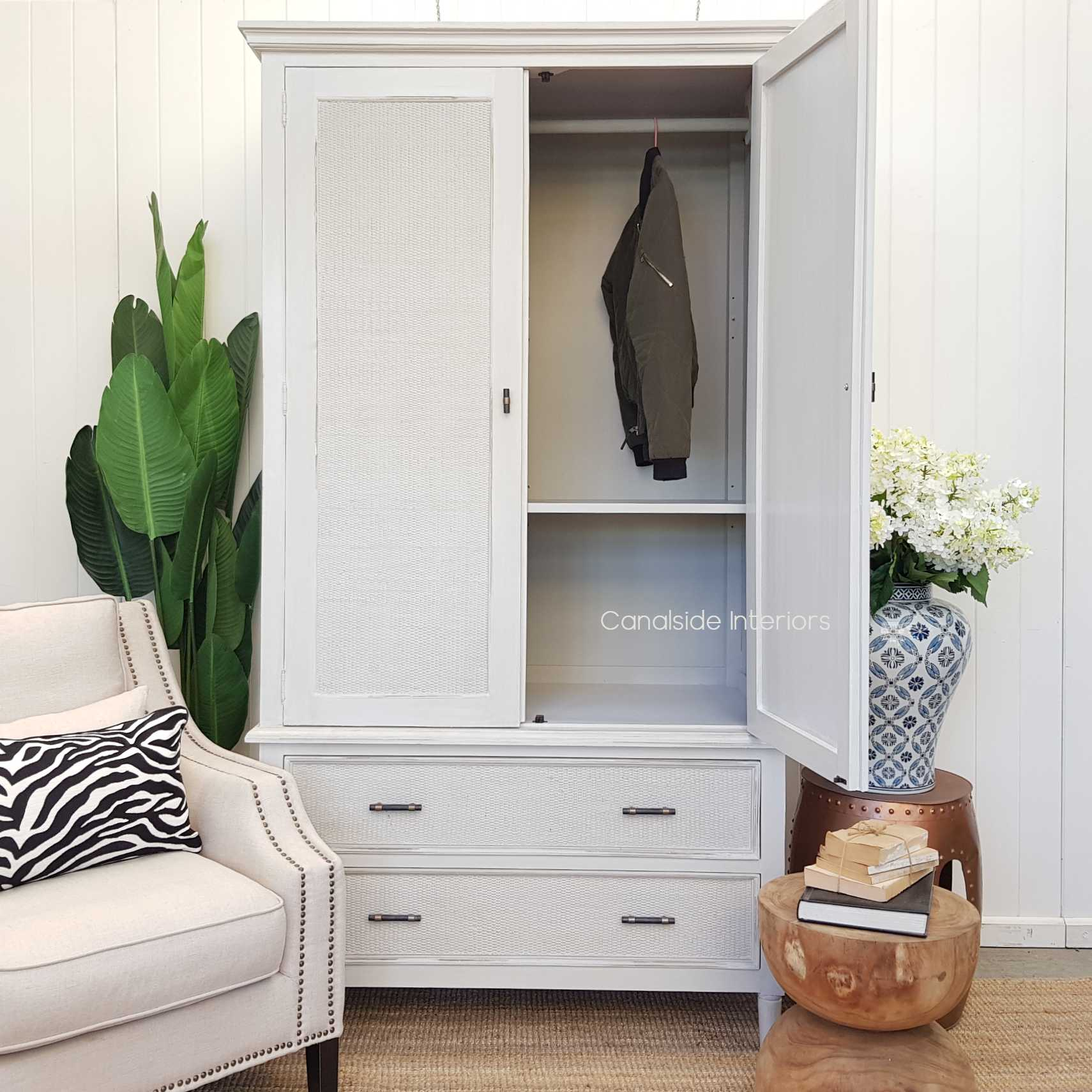 Brielle Rattan Wardrobe Cupboard  HAMPTONS Style, PLANTATION Style, LIVING Room, LIVING Cupboards & Bookcases, STORAGE, STORAGE Bookshelves & Cupboards, PLANTATION STYLE  Wardrobe Distressed White  BEDROOM, BEDROOM Wardrobes & Armoires,