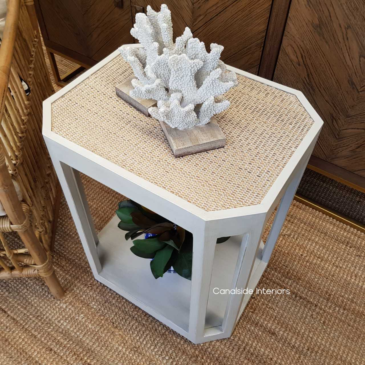 Brielle Rattan Side Table HAMPTONS Style, PLANTATION Style, LIVING Room, LIVING, Living Room island coastal Distressed White  FRENCH  FURNITURE, TABLES, Side Tables, Coffee