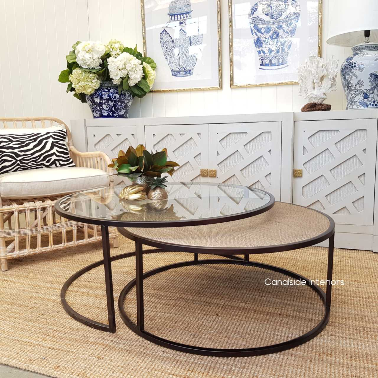 Knox Rattan Plantation Nesting Coffee Table, TABLES Coffee Tables, LIVING Room, LIVING Coffee & Side Tables, PLANTATION STYLE, Brass, British Colonial, Glass, Island Style