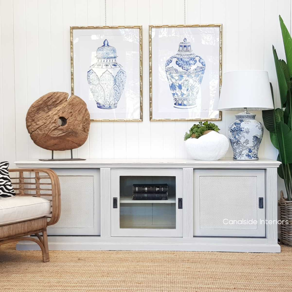 *Brielle Rattan Entertainment Unit II - Stone - IN STOCK