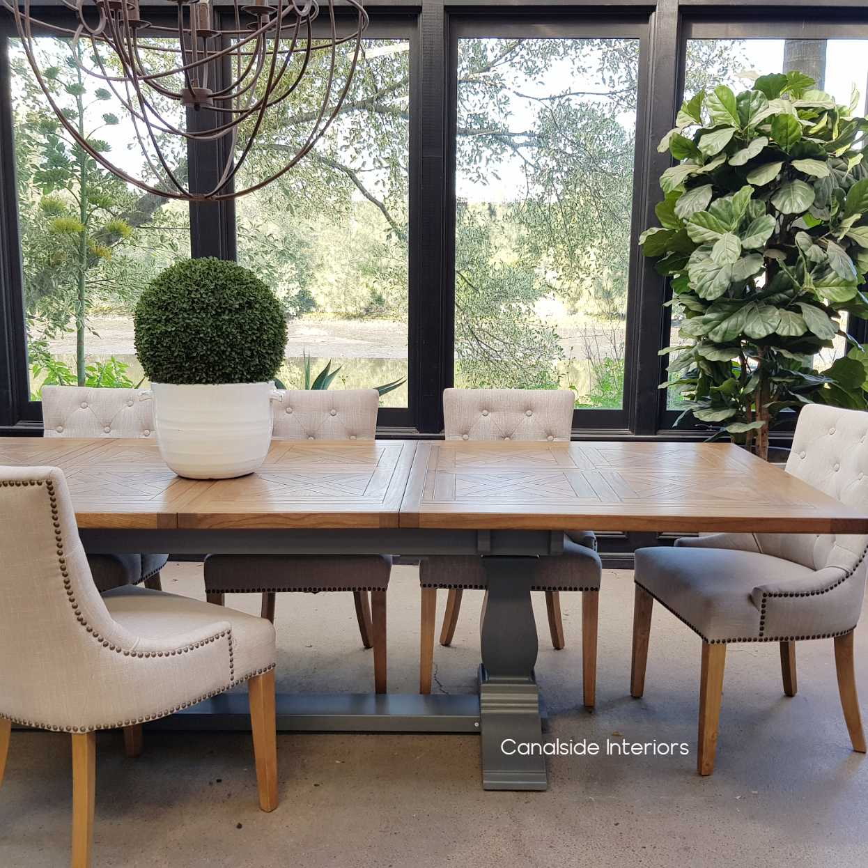 Stamford Parquetry Double Extension Dining Table Grey Base tables, extension tables, hamptons, hamptons table, provincial, plantation, dining tables, trestle base, dining room