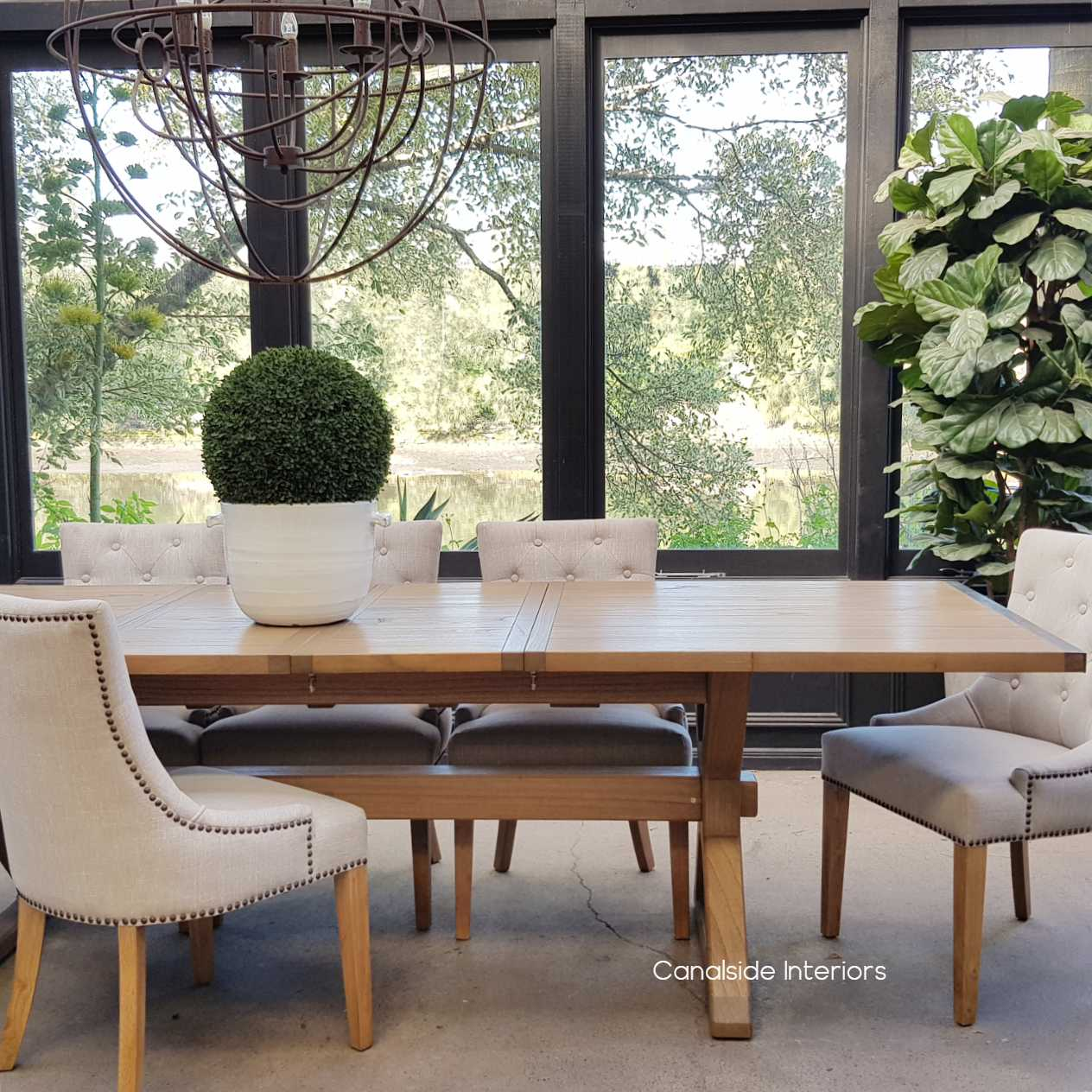 Catalina Double Extension Dining Table X-Base Cross Base metal detail tables, extension tables, hamptons, hamptons table, provincial, plantation, dining tables, trestle base, dining room, nautical, coastal
