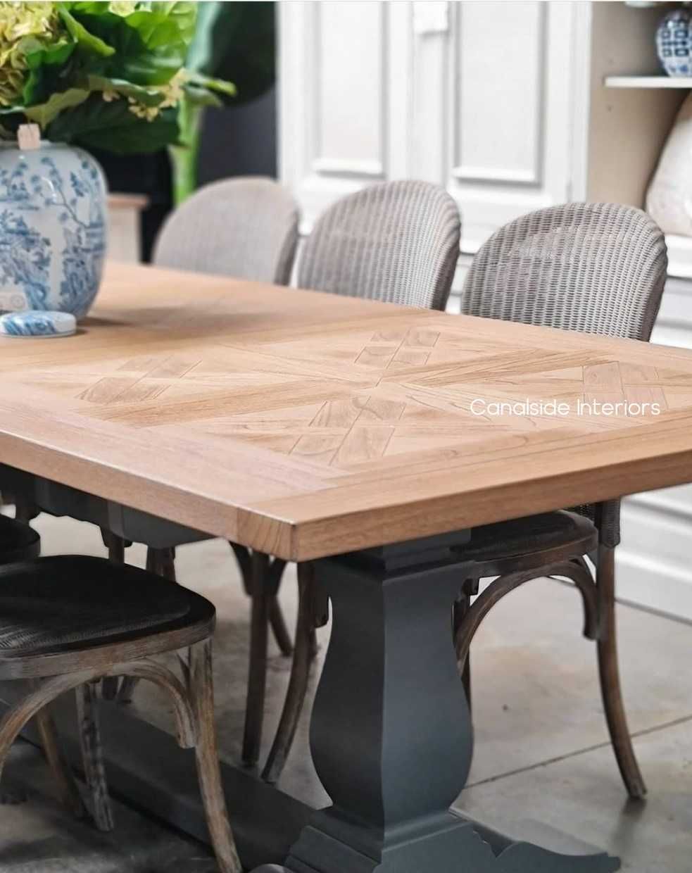 Balmoral Parquetry Double Extension Dining Table Grey Base tables, extension tables, hamptons, hamptons table, provincial, plantation, dining tables, trestle base, dining room