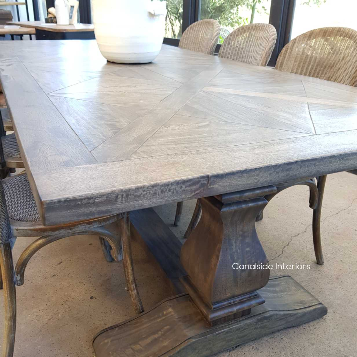 Bridgehampton Parquetry Dining Table tables, hamptons, hamptons, hampton table, provincial, plantation, dining tables, trestle base, dining room