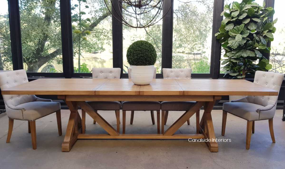 Harvest Double Extension Dining Table tables, extension tables, hamptons, hamptons table, provincial, plantation, dining tables, trestle base, dining room, cross base, cross dining table, rustic, criss cross, farmhouse, coastal