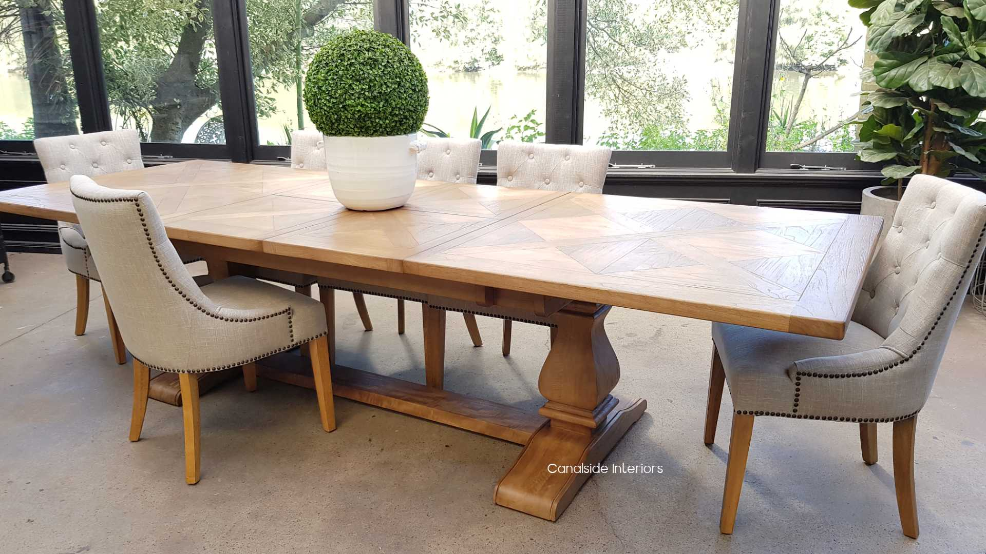 Hampton Bay Double Extension Parquetry Dining Table tables, hamptons, hampton table, provincial, plantation, dining tables, trestle base, dining room