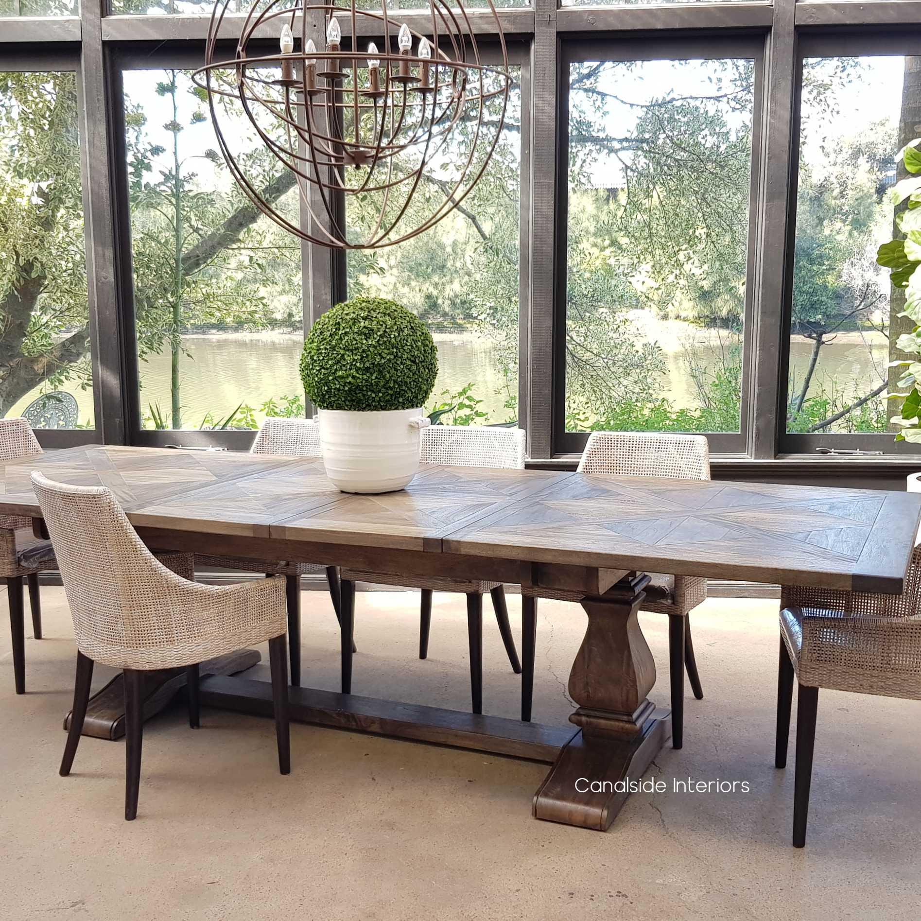 Bridgehampton Parquetry Double Extension Dining Table tables, hamptons, hamptons, hampton table, provincial, plantation, dining tables, trestle base, dining room