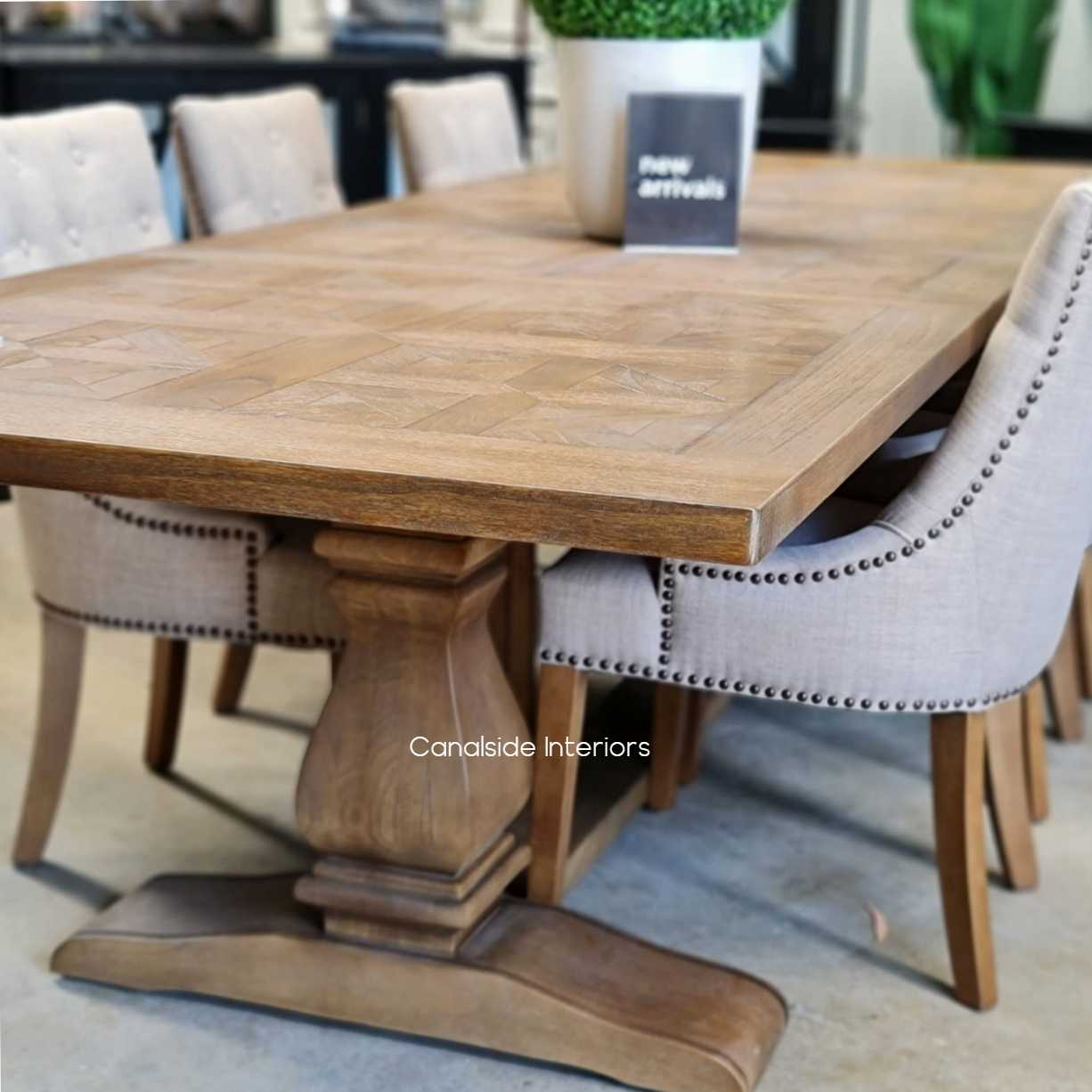 Provence Parquetry Double Extension Dining Table tables, hamptons, hamptons, hampton table, provincial, plantation, dining tables, trestle base, dining room