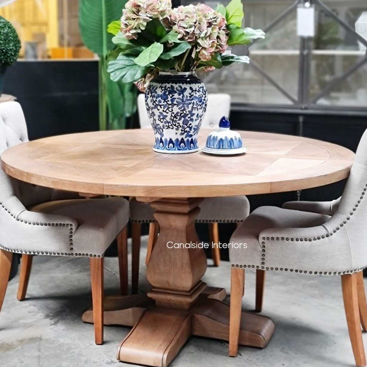 Hampton Bay Parquetry Round Dining Table tables, hamptons, hampton table, provincial, plantation, dining tables, trestle base, dining room