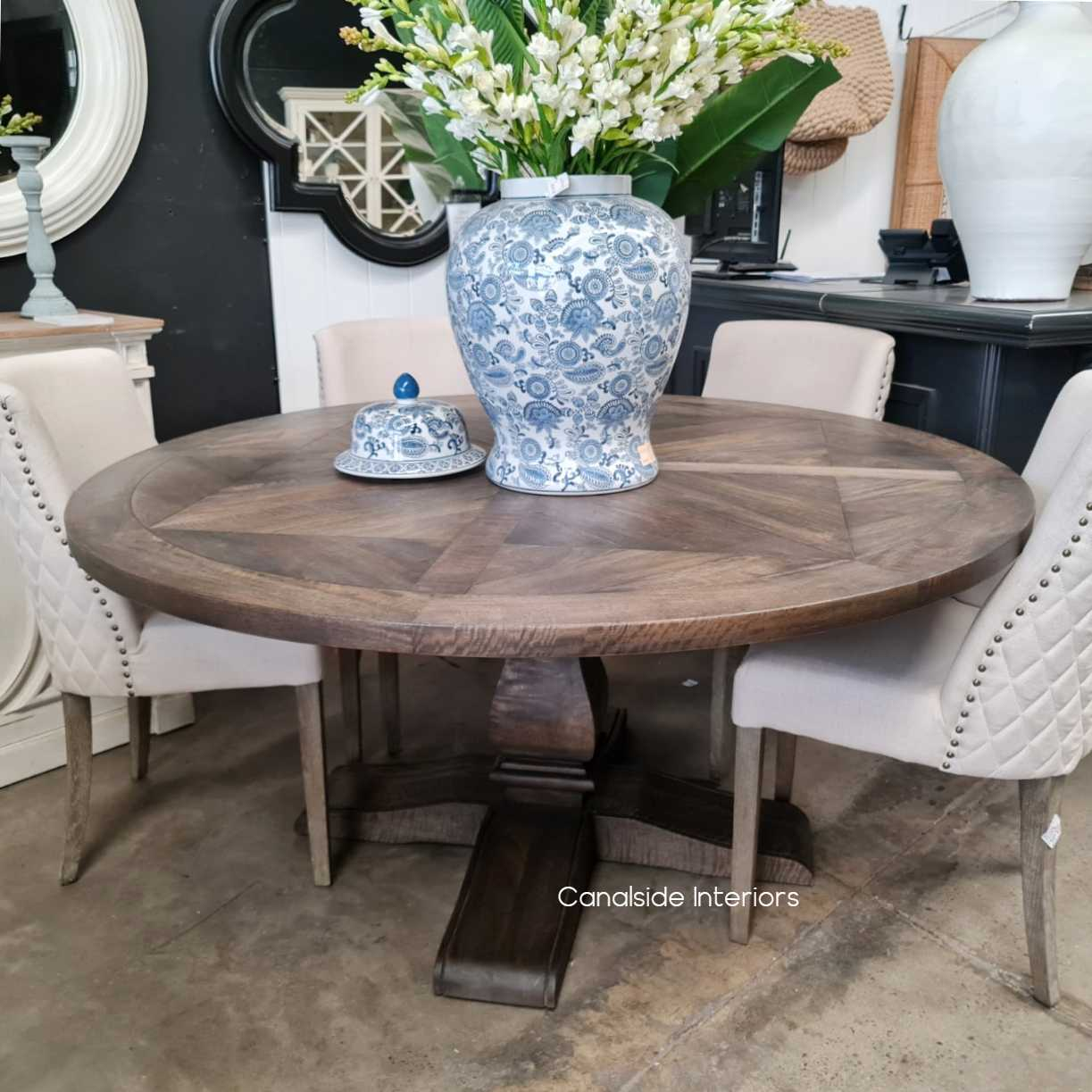 Bridgehampton Parquetry Round Dining Table tables, hamptons, hamptons, hampton table, provincial, plantation, dining tables, trestle base, dining room