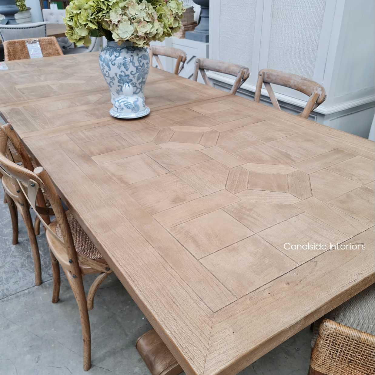 Como Parquetry Double Extension Dining Table tables, hamptons, hamptons, hampton table, provincial, plantation, dining tables, trestle base, dining room banquet