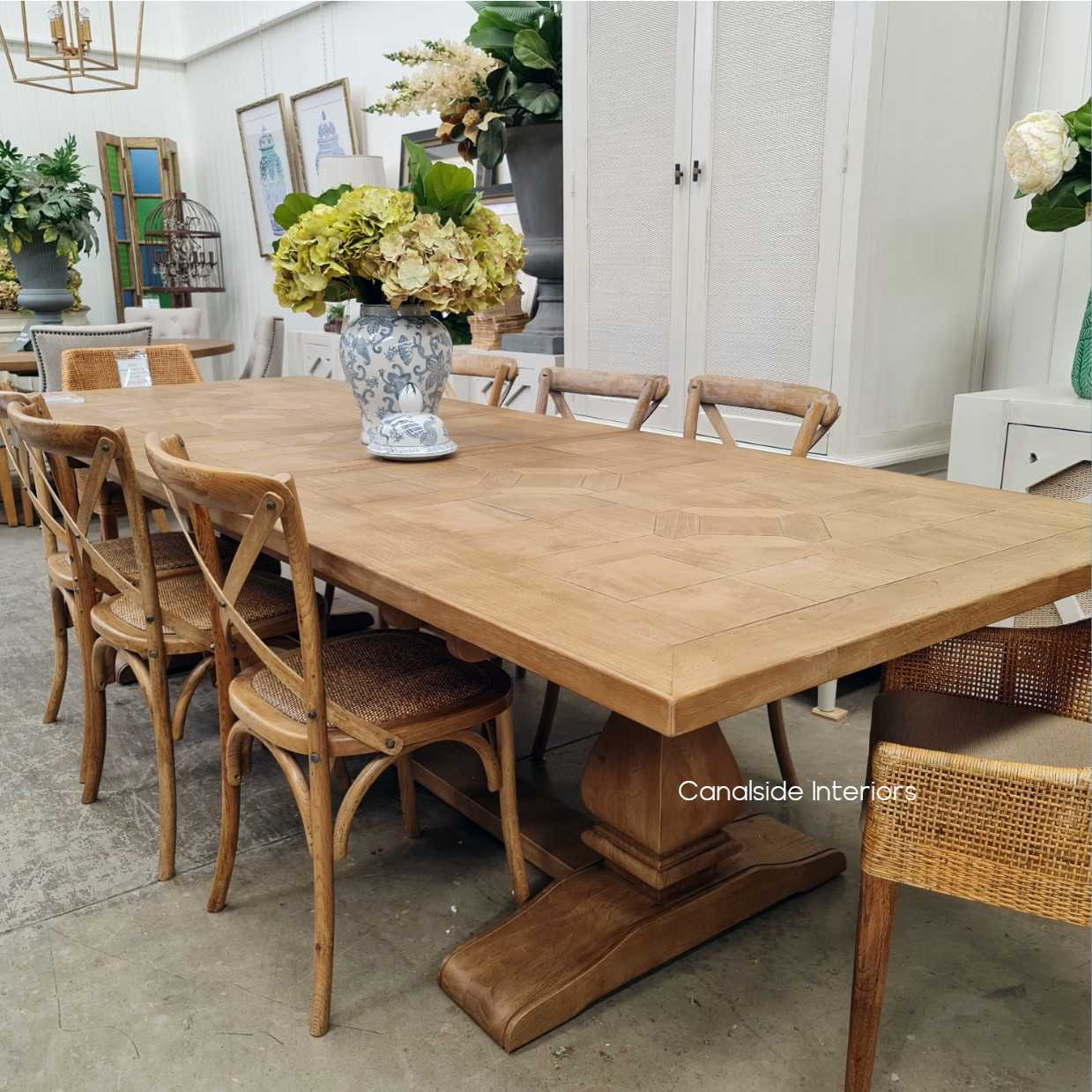 Como Parquetry Double Extension Banquet Dining Table tables, hamptons, hamptons, hampton table, provincial, plantation, dining tables, trestle base, dining room banquet