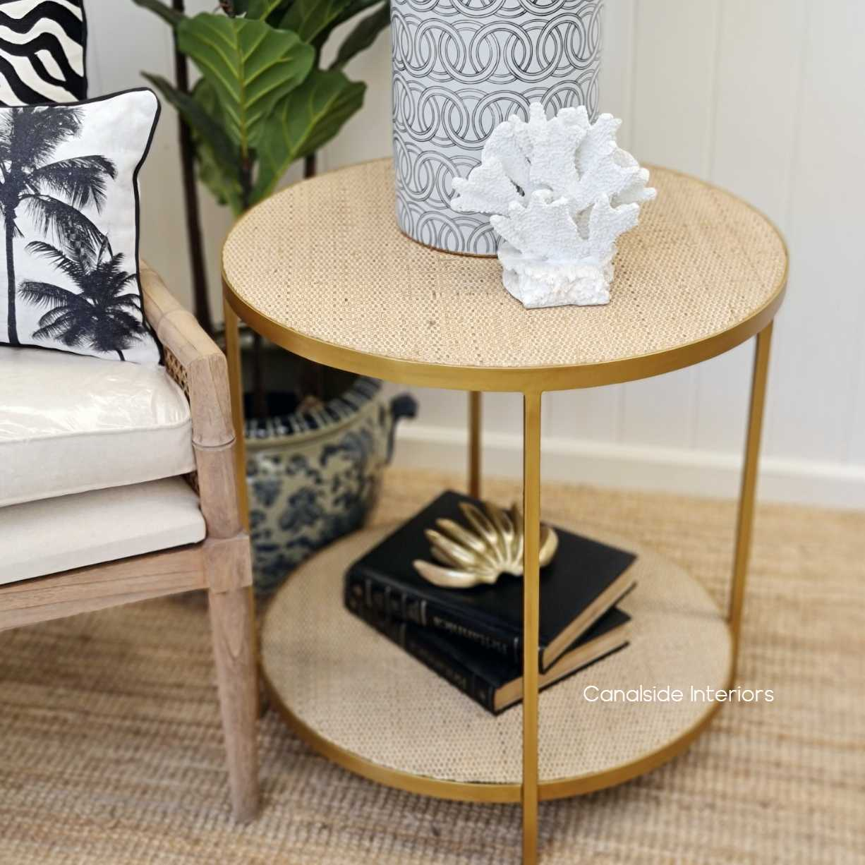 Knox rattan side table tables gold halltable sidetable loungeroom livingroom familyroom hollywood glam plantation island chinoiserie cane bedside nightstand