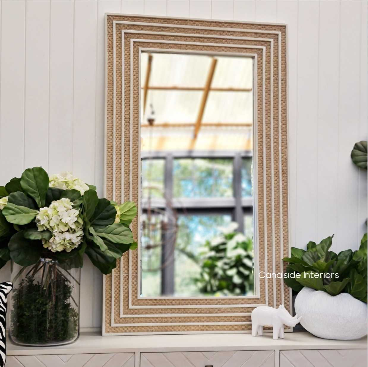 Brielle Rattan Rectangular Mirror HAMPTONS Style, PLANTATION Style, MIRRORS, PLANTATION STYLE cane chinoiserie island
