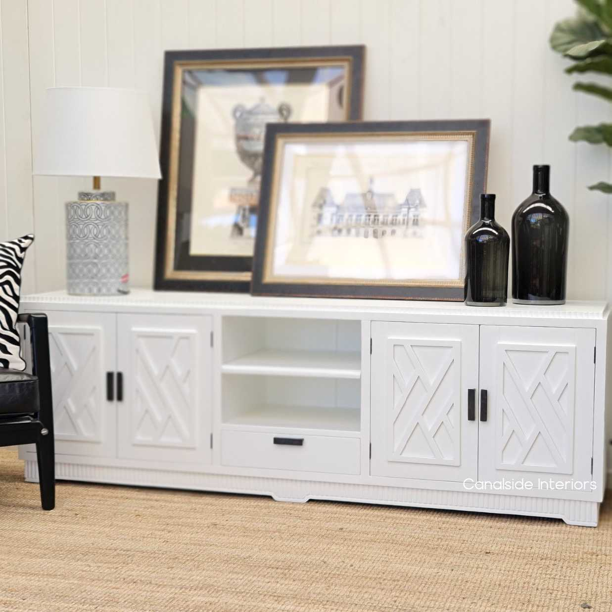 Ellery 4 Door TV Unit Sideboard White  HAMPTONS Style, PLANTATION Style, LIVING Room, LIVING TV Media & Storage, TABLES Sideboards & Buffets, STORAGE, STORAGE Sideboards & Buffets, PLANTATION STYLE Media Unit hollywood regency hollywood glam chinoiserie