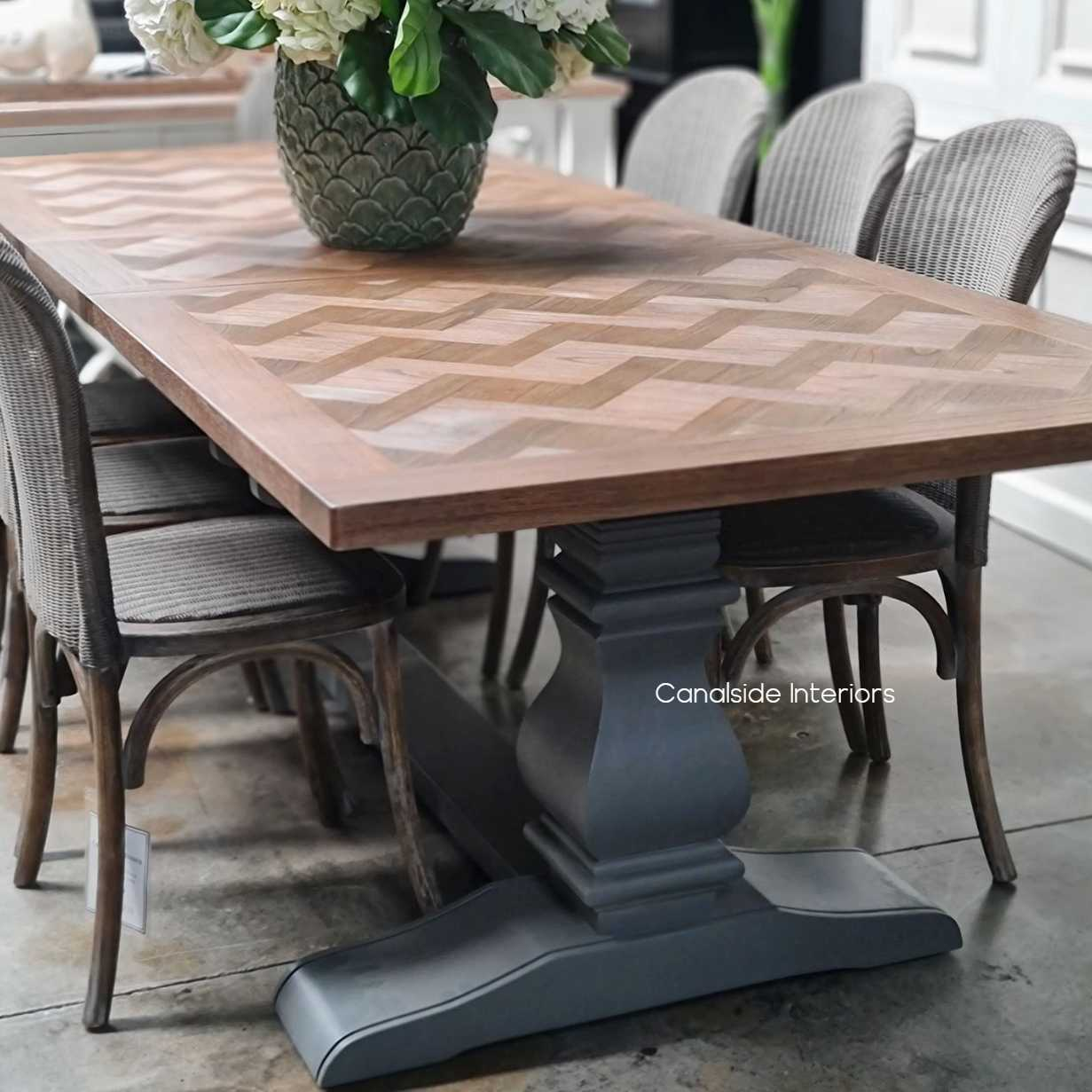 Chantilly Parquetry Double Extension Dining Table Grey Base tables, extension tables, hamptons, hamptons table, provincial, plantation, dining tables, trestle base, dining room