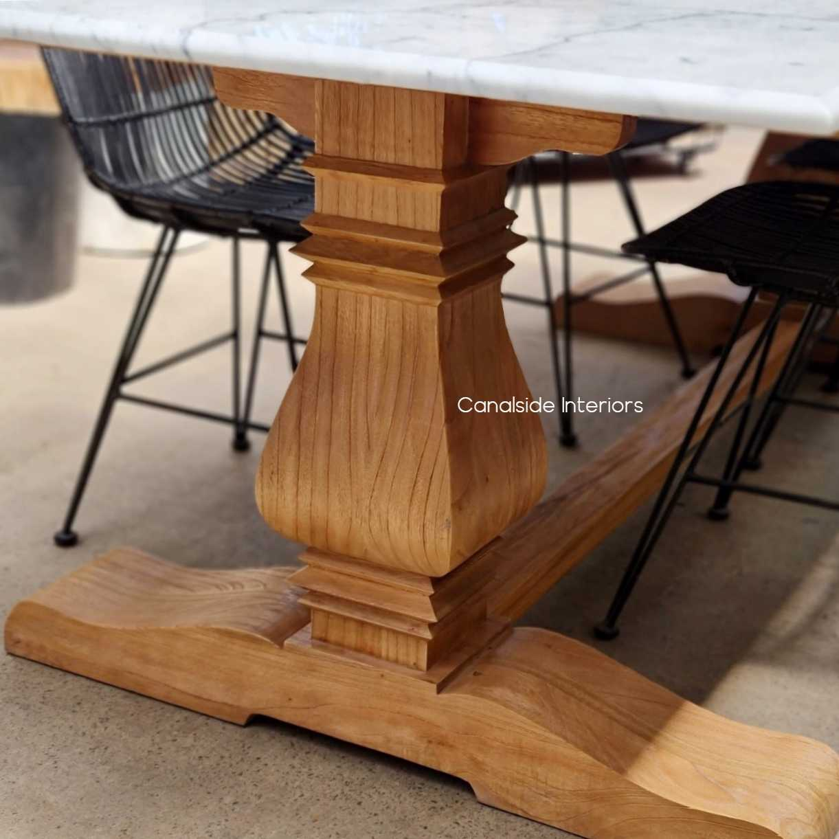 Heritage Pedestal Dining Table with Carrara Marble Top, Dining Table, tables, hamptons, hampton table, provincial, plantation, dining tables, trestle base, dining room, Marble, Carrara, Pedestal table, Marble Table,
