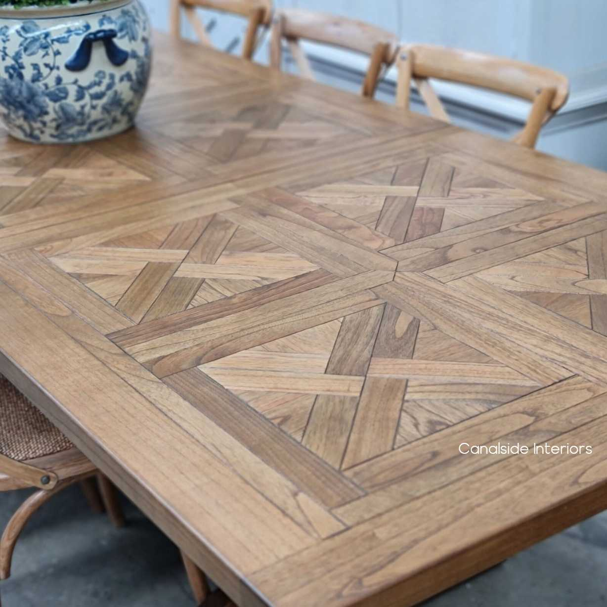 Stamford Parquetry Double Extension Dining Table, tables, extension tables, hamptons, hamptons table, provincial, plantation, dining tables, trestle base, dining room
