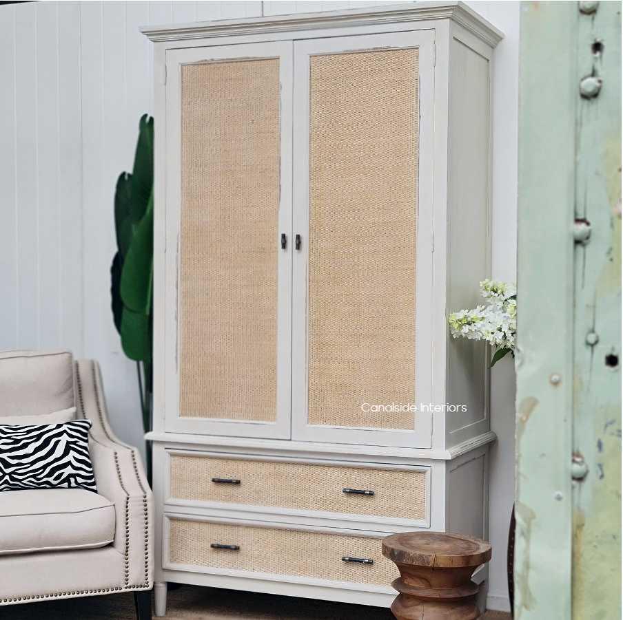 *Brielle Rattan Wardrobe Cupboard - Stone/Natural Rattan - IN STOCK