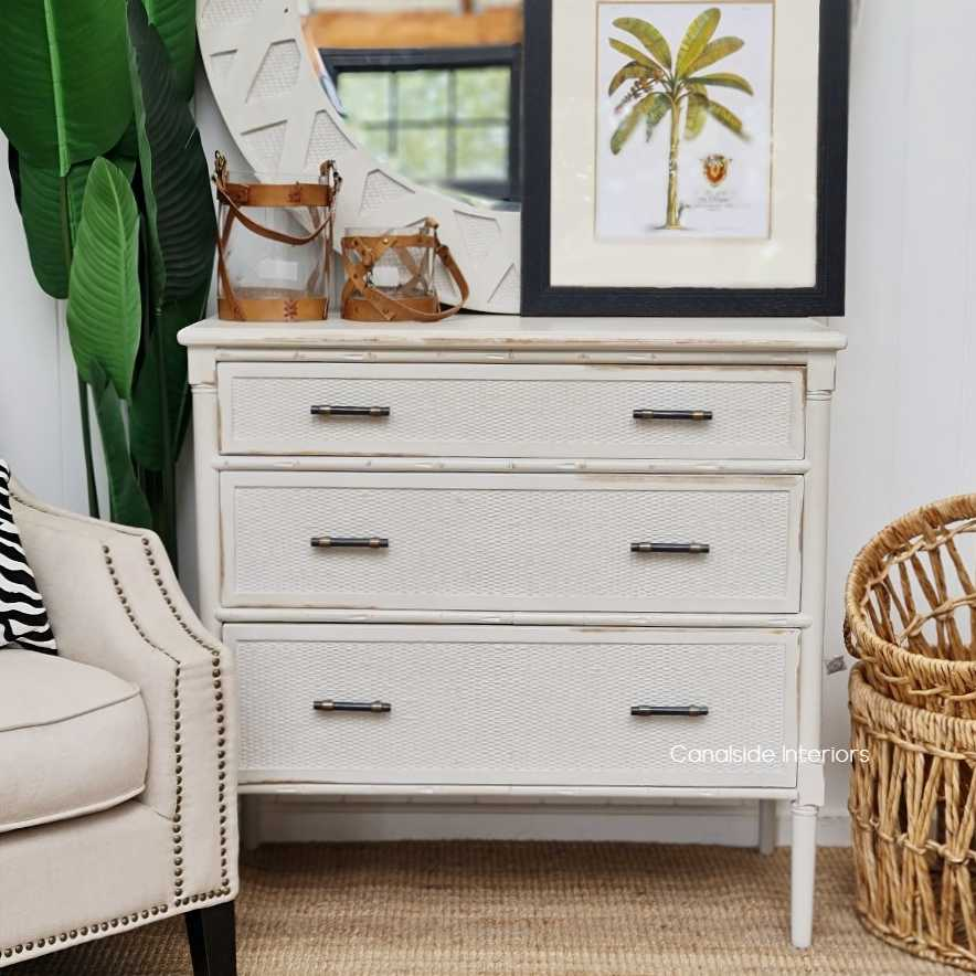 Brielle Rattan Chest buffet table storage drawers HAMPTONS Style, PLANTATION Style, LIVING Room, STORAGE, STORAGE bedroom chest  PLANTATION STYLE  Colonial island coastal Distressed White  BEDROOM, BEDROOM furniture