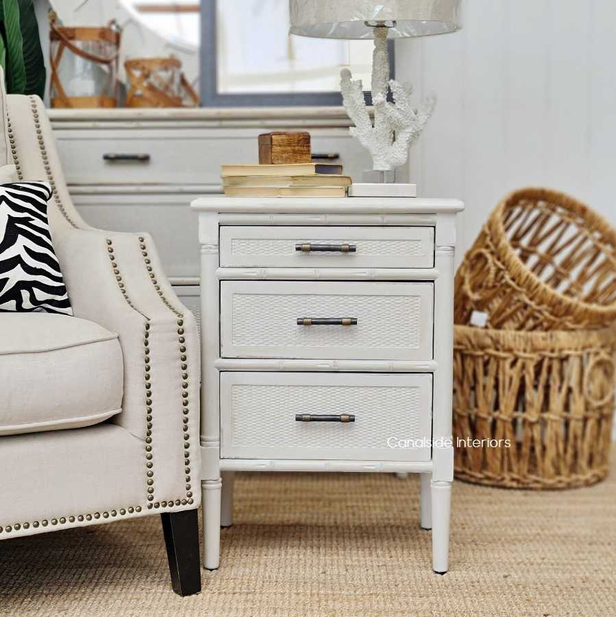 Brielle Rattan Bedside table storage drawers HAMPTONS Style, PLANTATION Style, LIVING Room, STORAGE, STORAGE bedroom chest  PLANTATION STYLE  Colonial island coastal Distressed White  BEDROOM, BEDROOM furniture nightstand side table sidetable bedsides