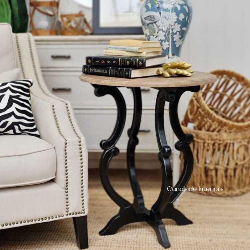 Missandei Side Table Distressed Charcoal Weathered Oak  FRENCH  FURNITURE, BEDROOM, TABLES, HAMPTONS Style, PLANTATION Style, TABLES Side Tables, LIVING Coffee & Side Tables, BEDROOM Bedsides