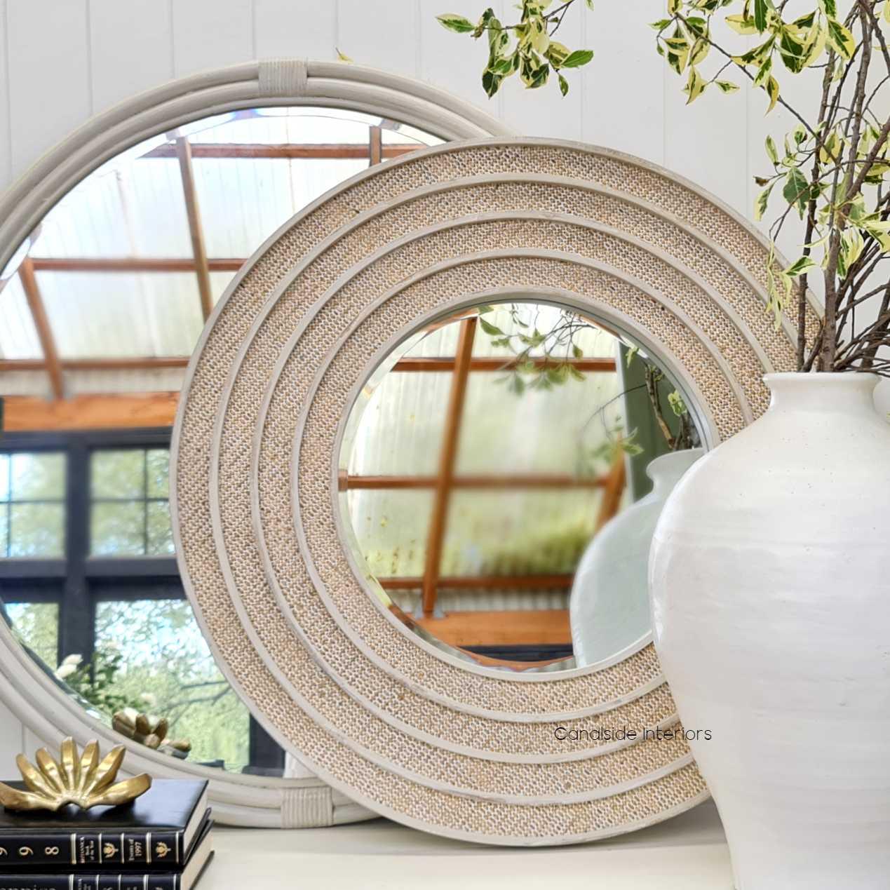 Brielle Rattan Round Mirror HAMPTONS Style, PLANTATION Style, MIRRORS, PLANTATION STYLE cane chinoiserie island