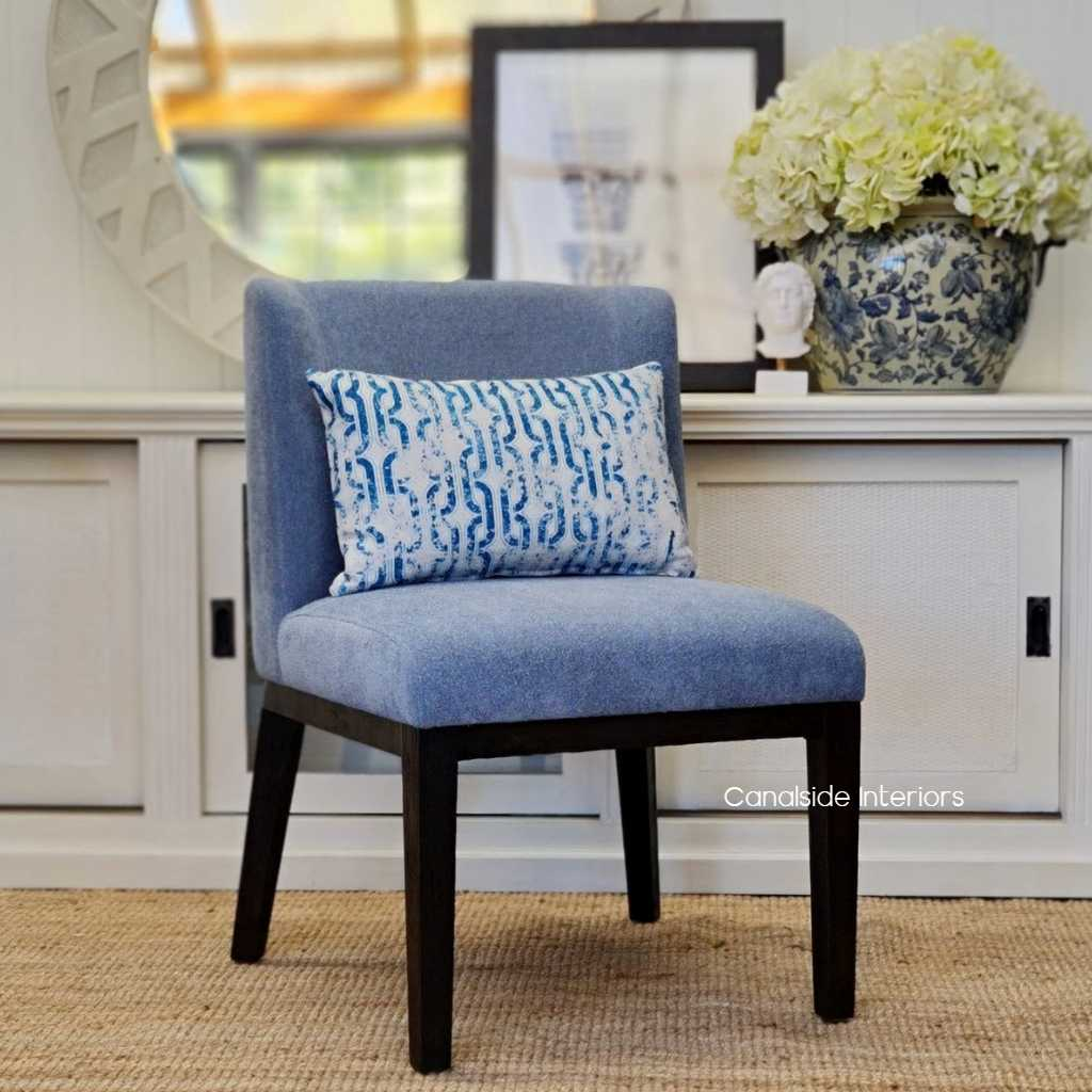 Norris Dining Chair Hamptons Blue Chenille upholstery deep espresso brown legs base, CHAIRS, HAMPTONS Style, PLANTATION Style, CHAIRS Dining