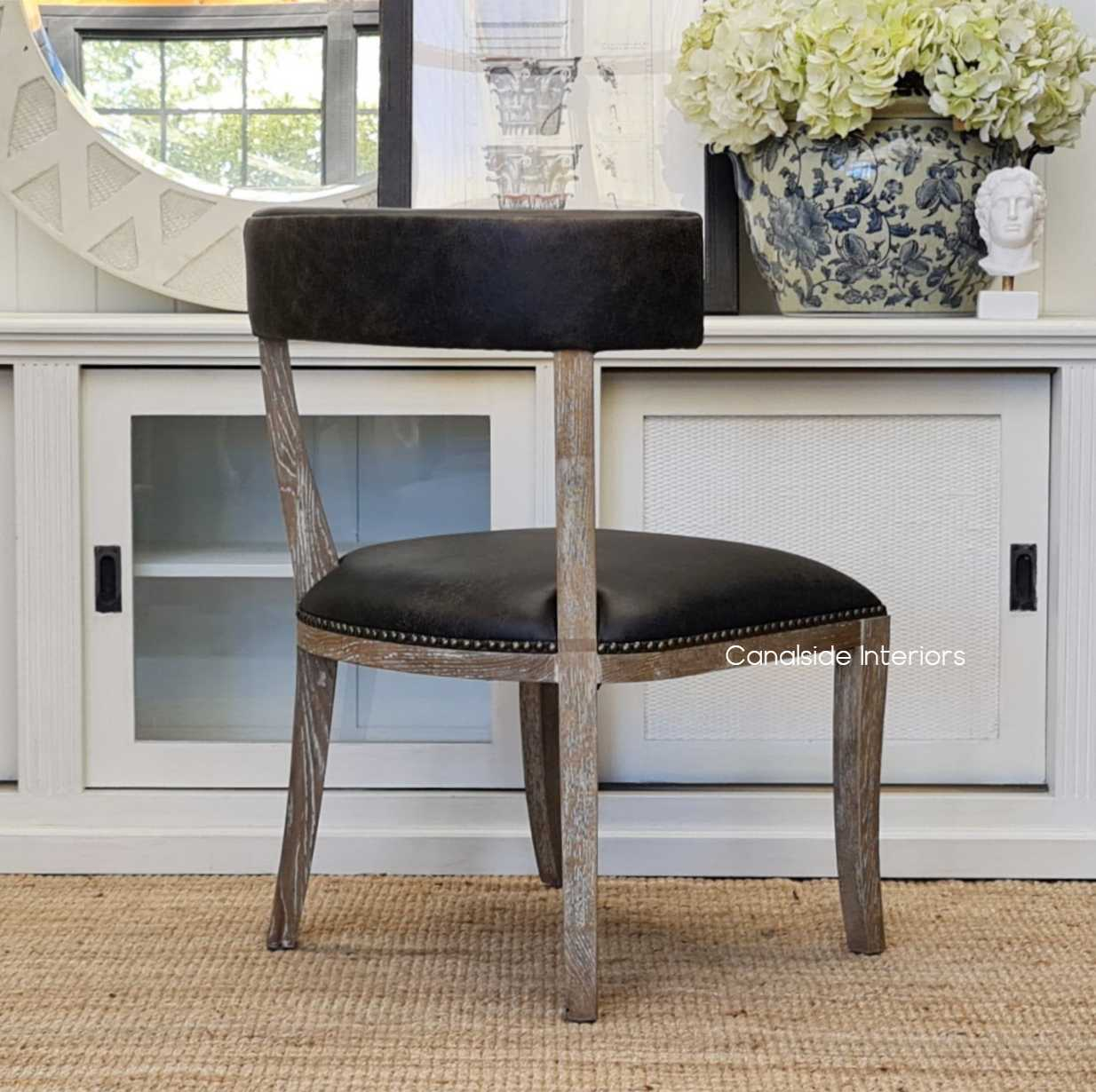 Sainz Aged Leather Dining Chair Dining Room Espresso chairs hamptons modern contemporary kitchen